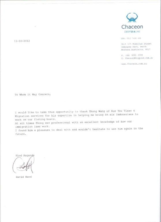 letter of recommendation for visa application from employer